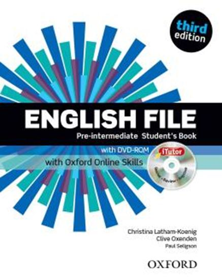 Picture of ENGLISH FILE PRE-INTERMEDIATE STUDENTS BOOK WITH ITUTOR AND ONLINE SKILLS - 3RD ED